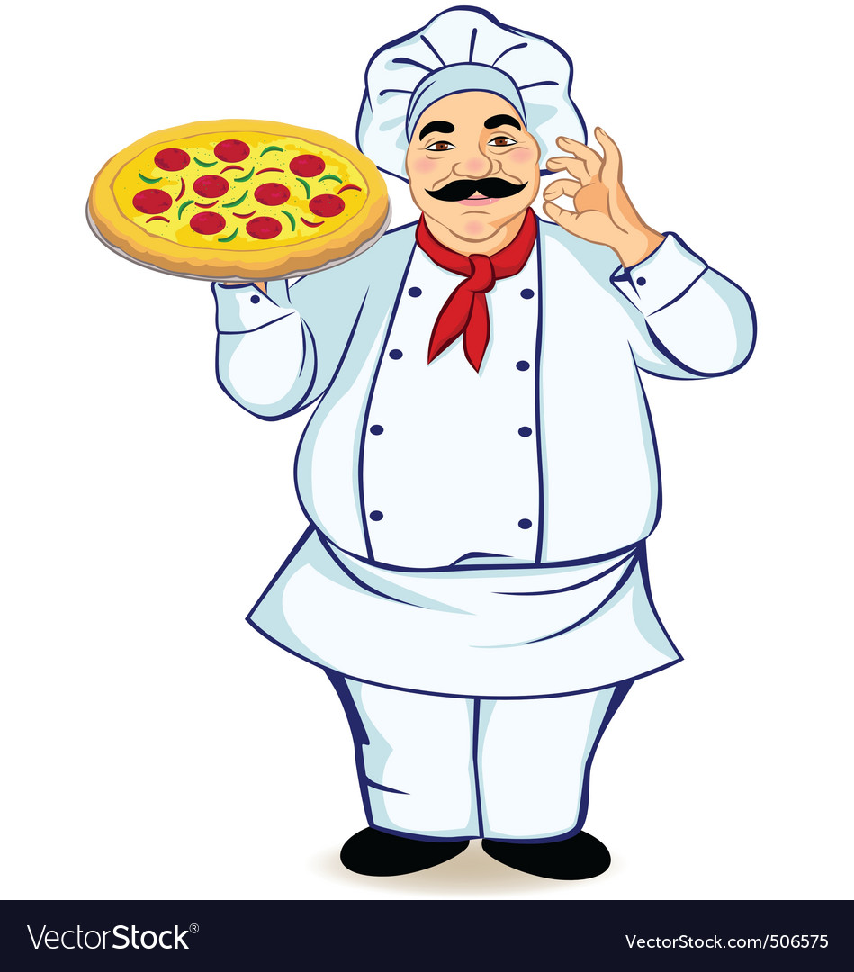 Happy chef and pizza vector | Price: 1 Credit (USD $1)