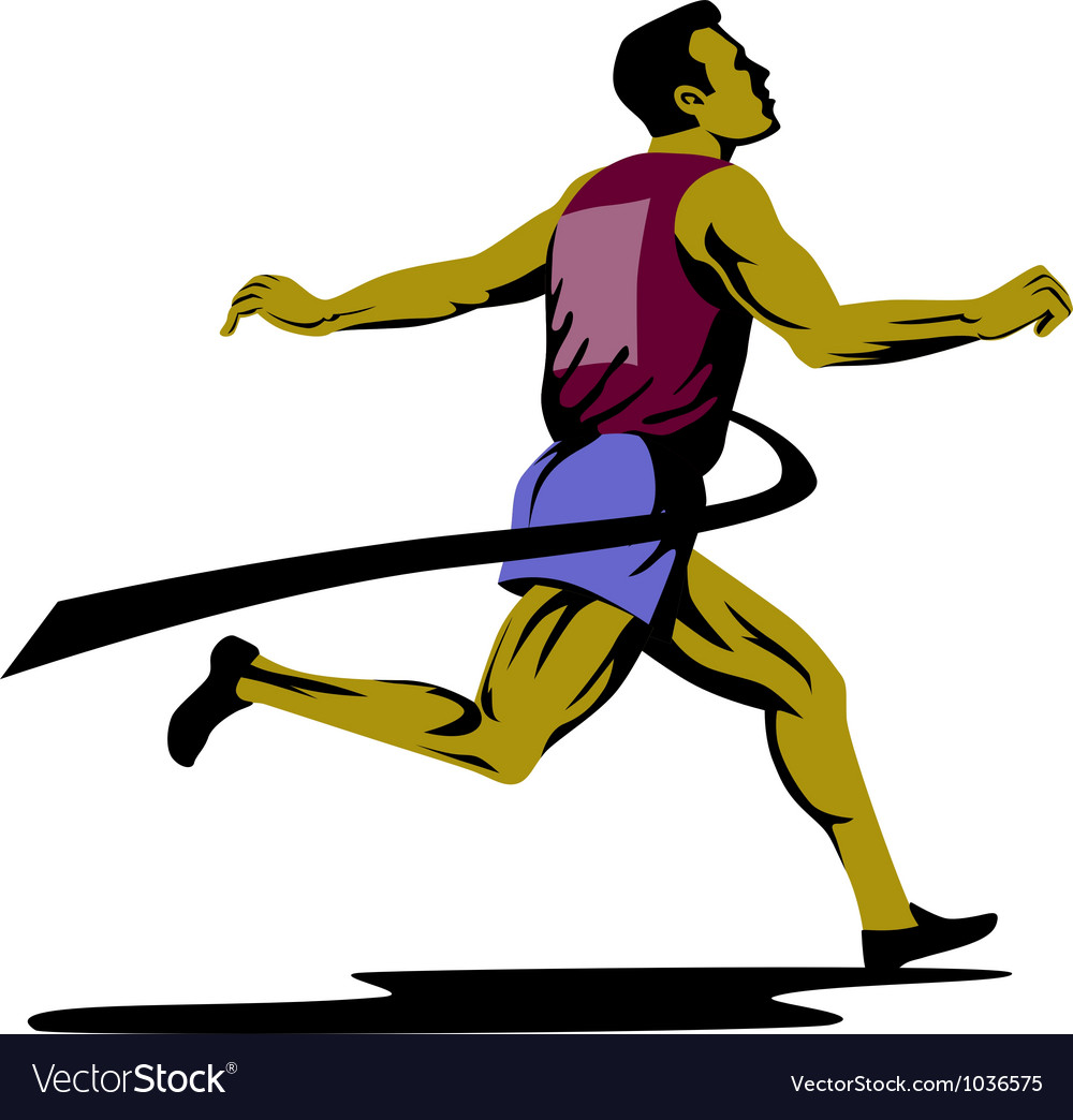 Marathon runner athlete running finish line vector | Price: 1 Credit (USD $1)
