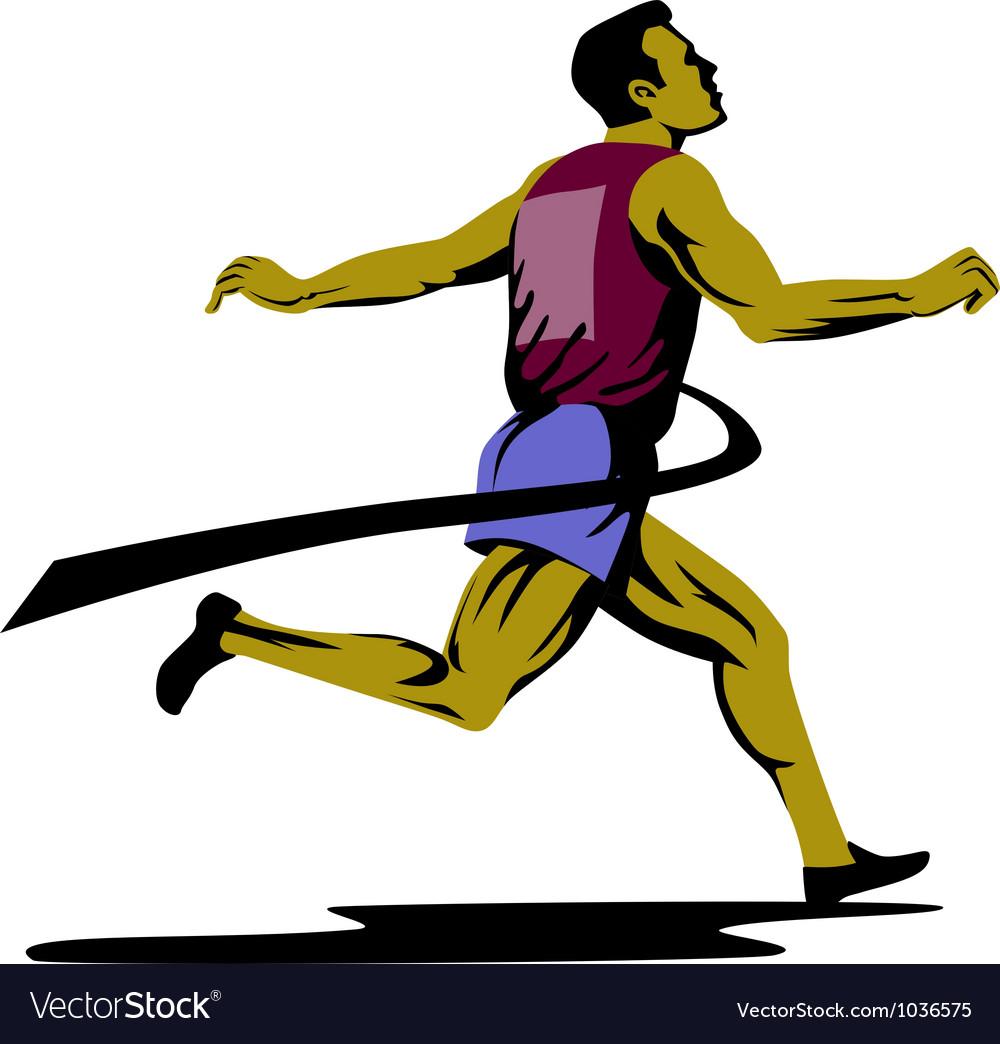 Marathon runner athlete running finish line vector | Price: 1 Credit (USD $1)