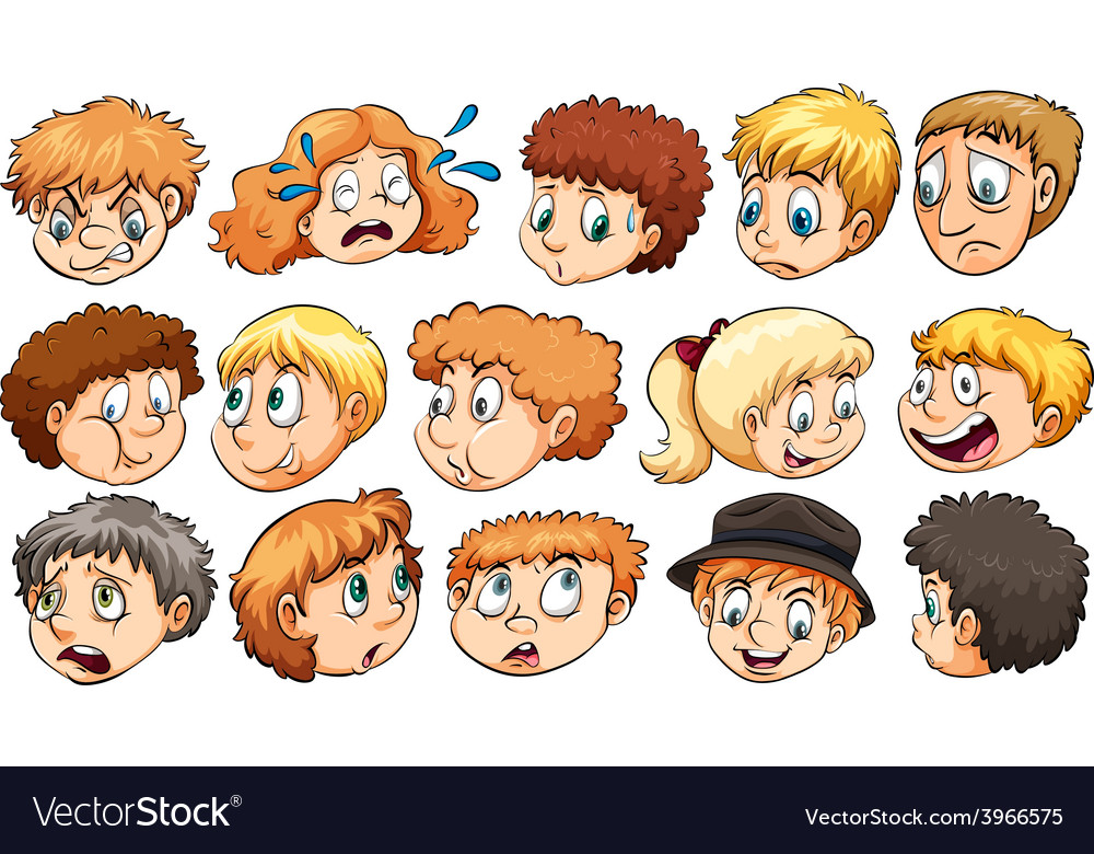 Set of facial expressions vector | Price: 1 Credit (USD $1)