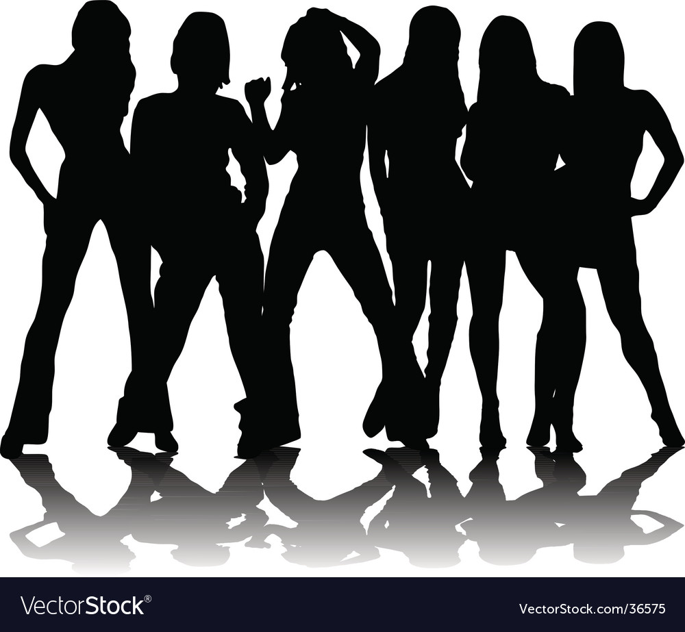 Six party girls vector | Price: 1 Credit (USD $1)