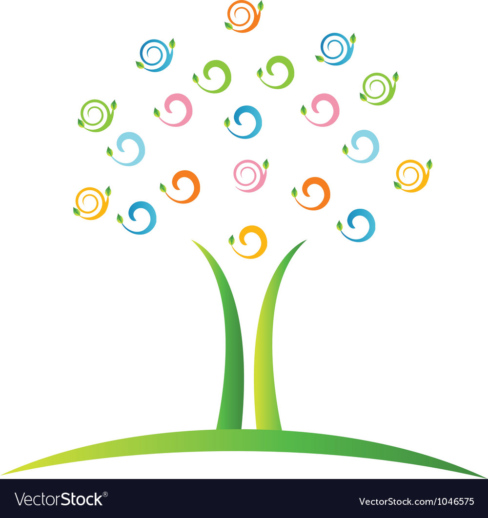 Tree with swirly leafs logo vector | Price: 1 Credit (USD $1)