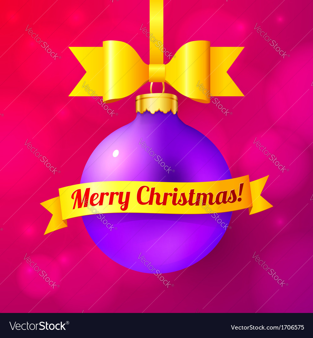 Violet christmas ball with yellow ribbon and sign vector | Price: 1 Credit (USD $1)