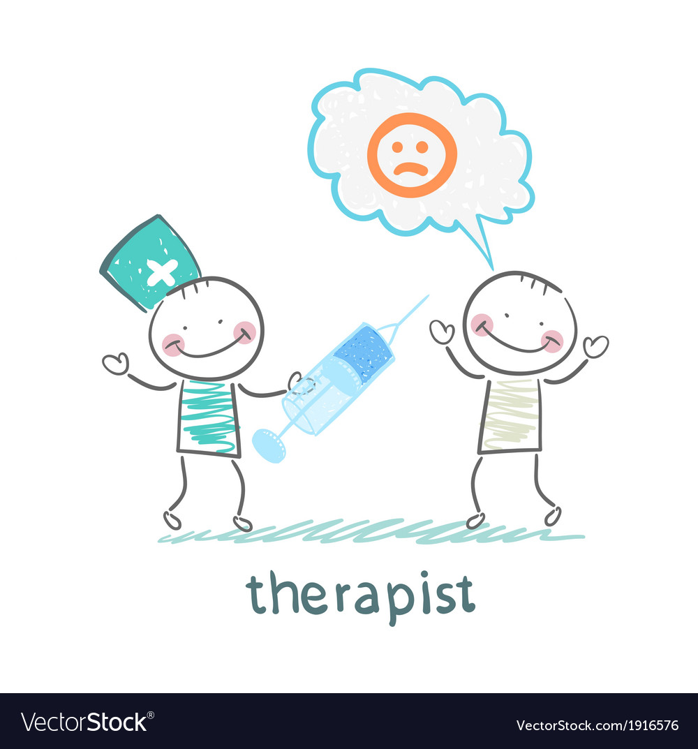 Therapist with syringe is looking at the patients vector | Price: 1 Credit (USD $1)