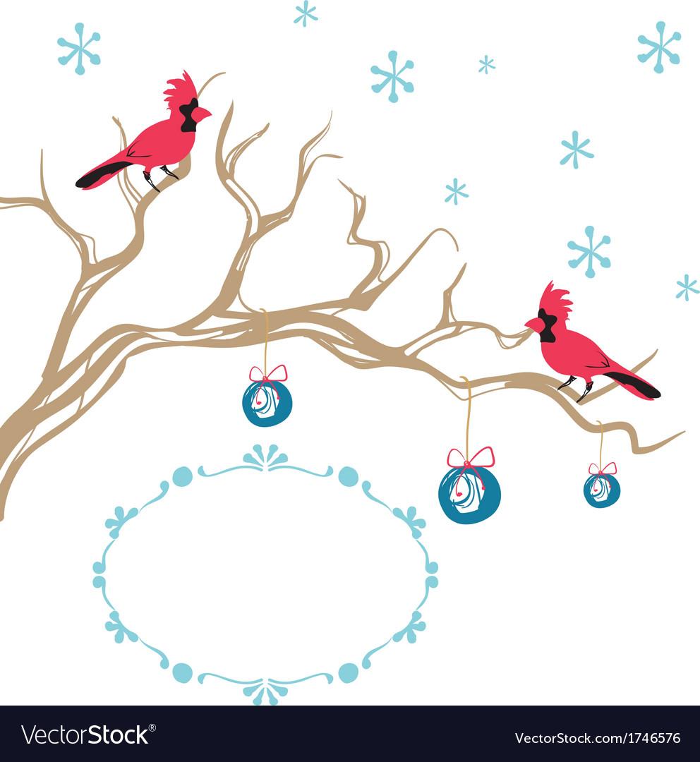 Christmas background cardinal bird brunch vector | Price: 1 Credit (USD $1)