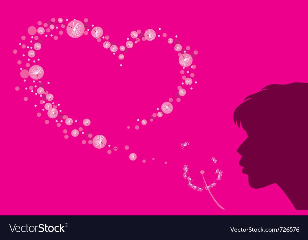 Heart shape dandelion fluff vector | Price: 1 Credit (USD $1)