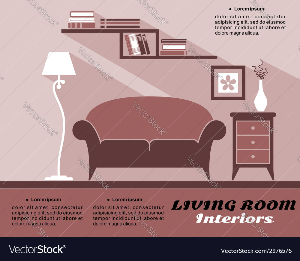 Living room interior in flat style vector | Price: 1 Credit (USD $1)