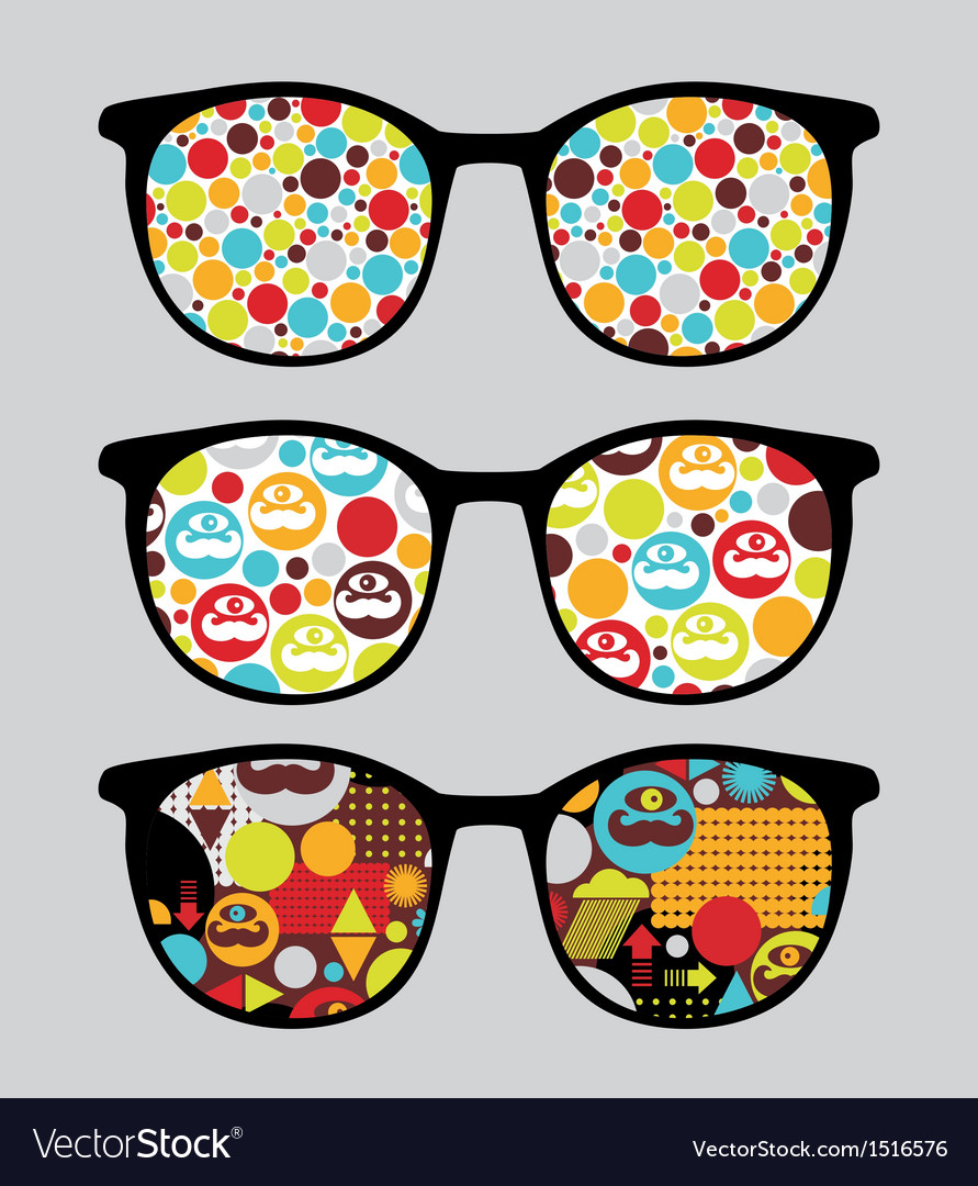 Retro sunglasses with bright reflection in it vector | Price: 1 Credit (USD $1)
