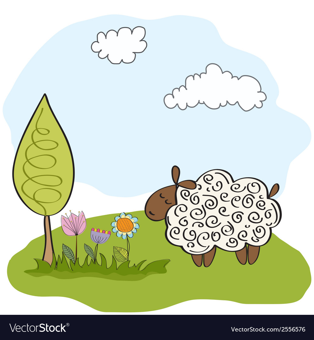 Spring greeting card with sheep vector | Price: 1 Credit (USD $1)