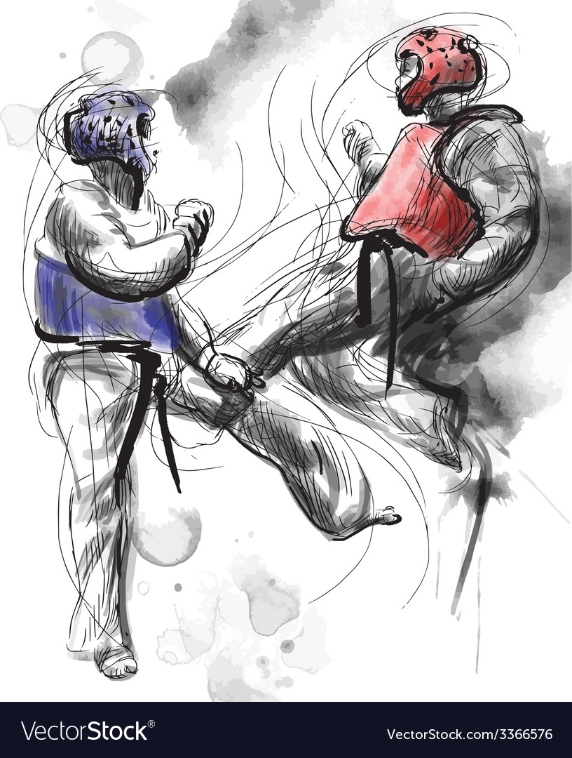 Taekwon-do hand drawn calligraphic and grunge vector   Price: 1 Credit (USD $1)