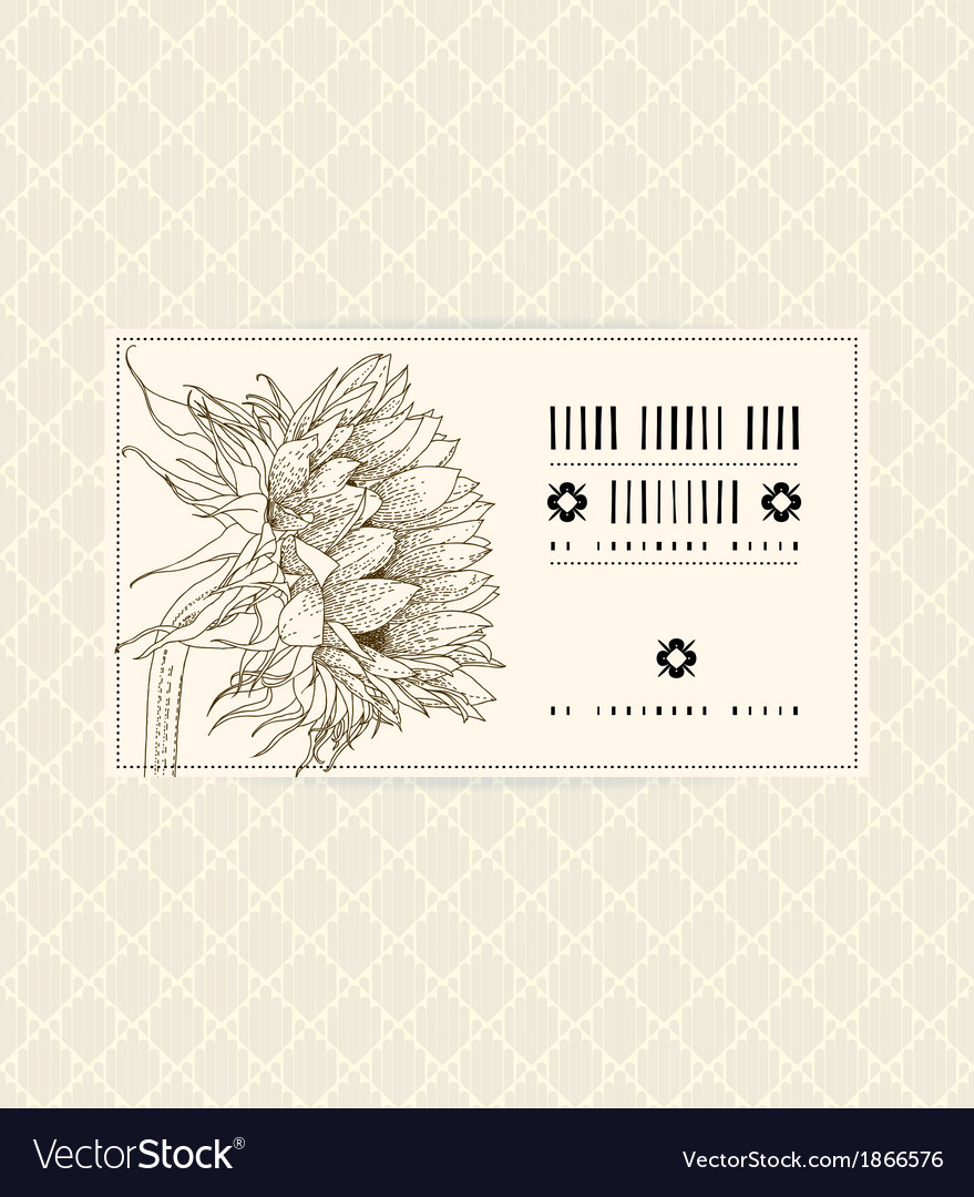 Vintage card with sunflower vector | Price: 1 Credit (USD $1)
