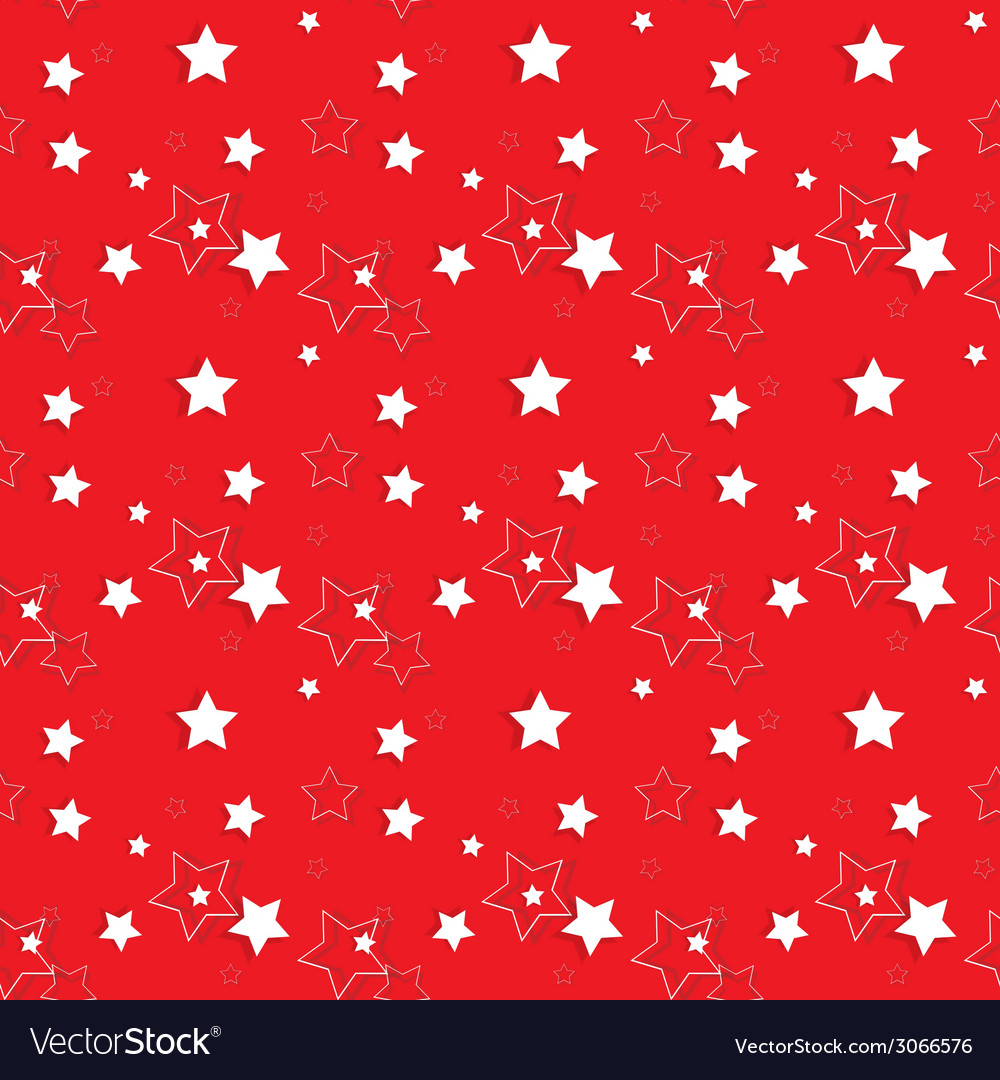 White stars on a red background seamless pattern vector | Price: 1 Credit (USD $1)