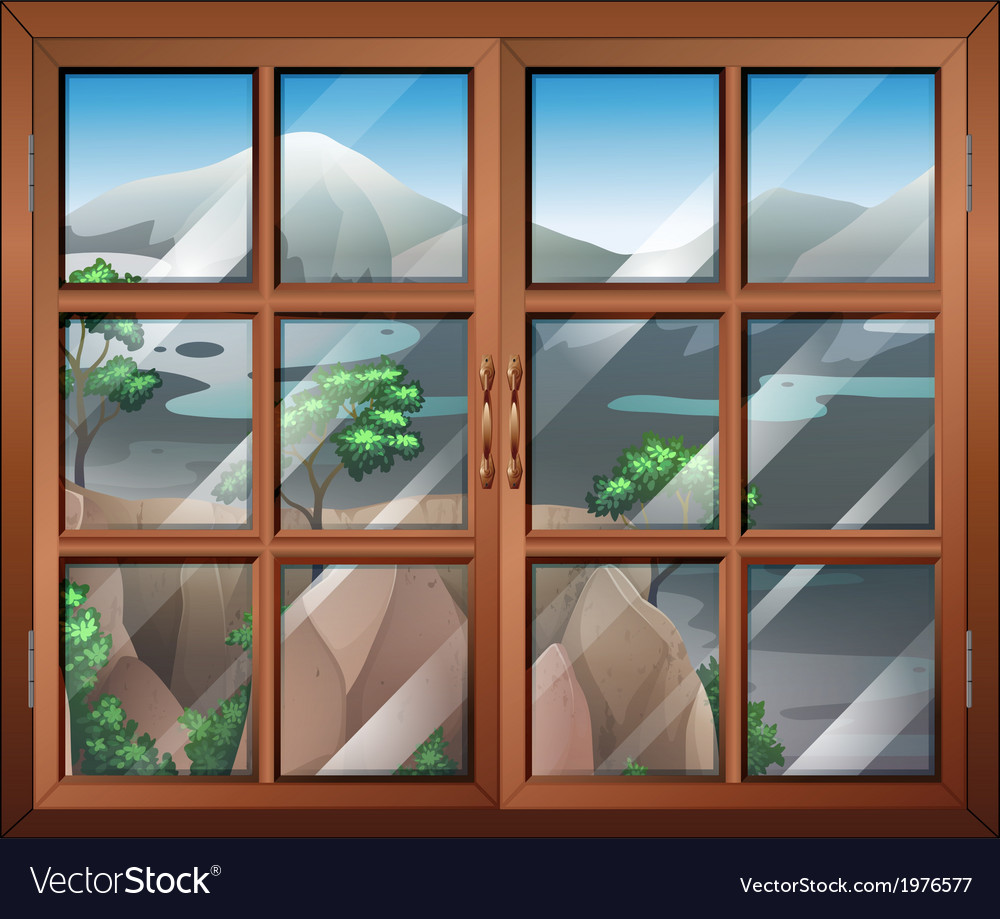 A closed window near the cliff vector | Price: 1 Credit (USD $1)