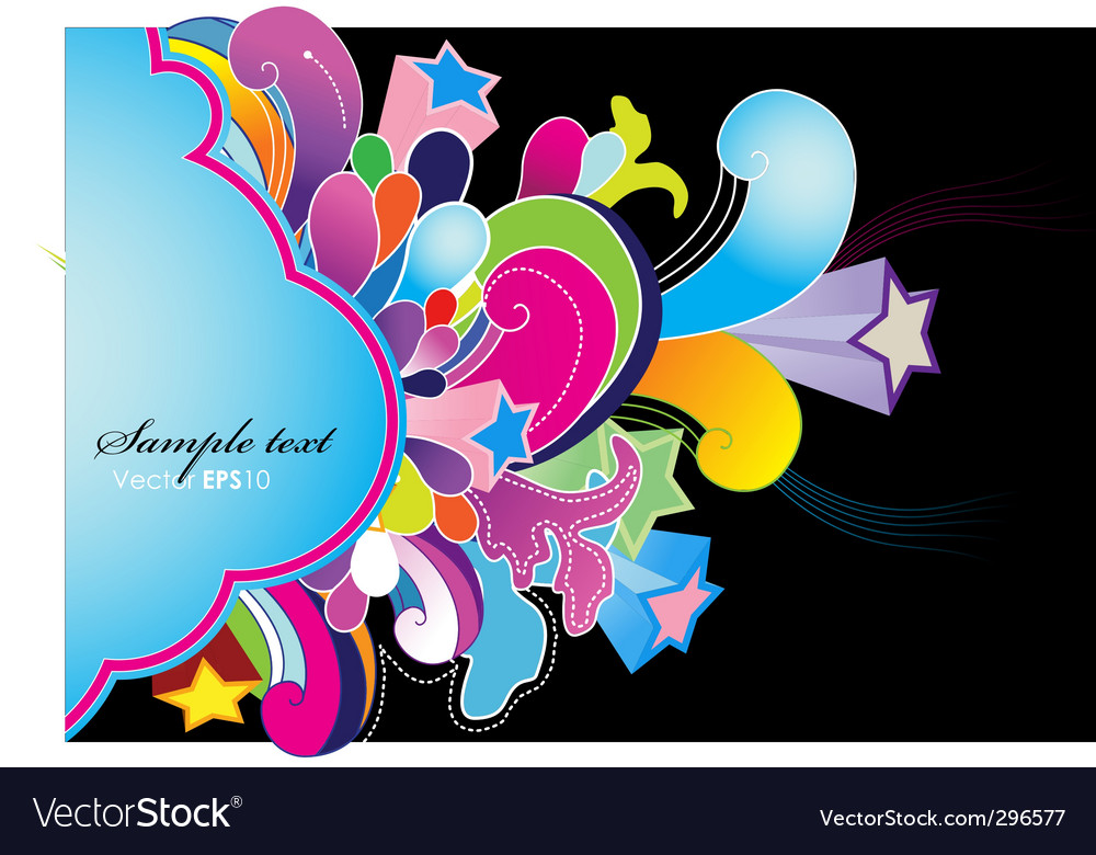 Abstract background with colored flowers vector | Price: 1 Credit (USD $1)