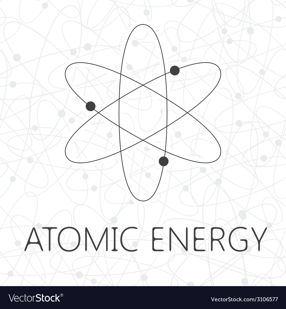 Atom over seamless atoms background vector | Price: 1 Credit (USD $1)