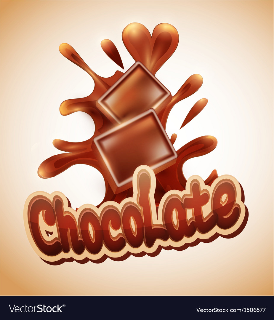 Background with chocolate pieces falling into melt vector | Price: 1 Credit (USD $1)