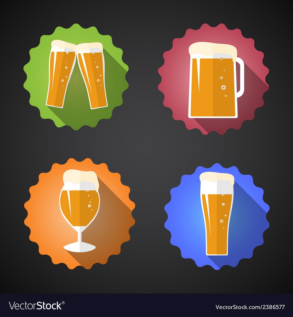 Beer glass set flat icon vector | Price: 1 Credit (USD $1)