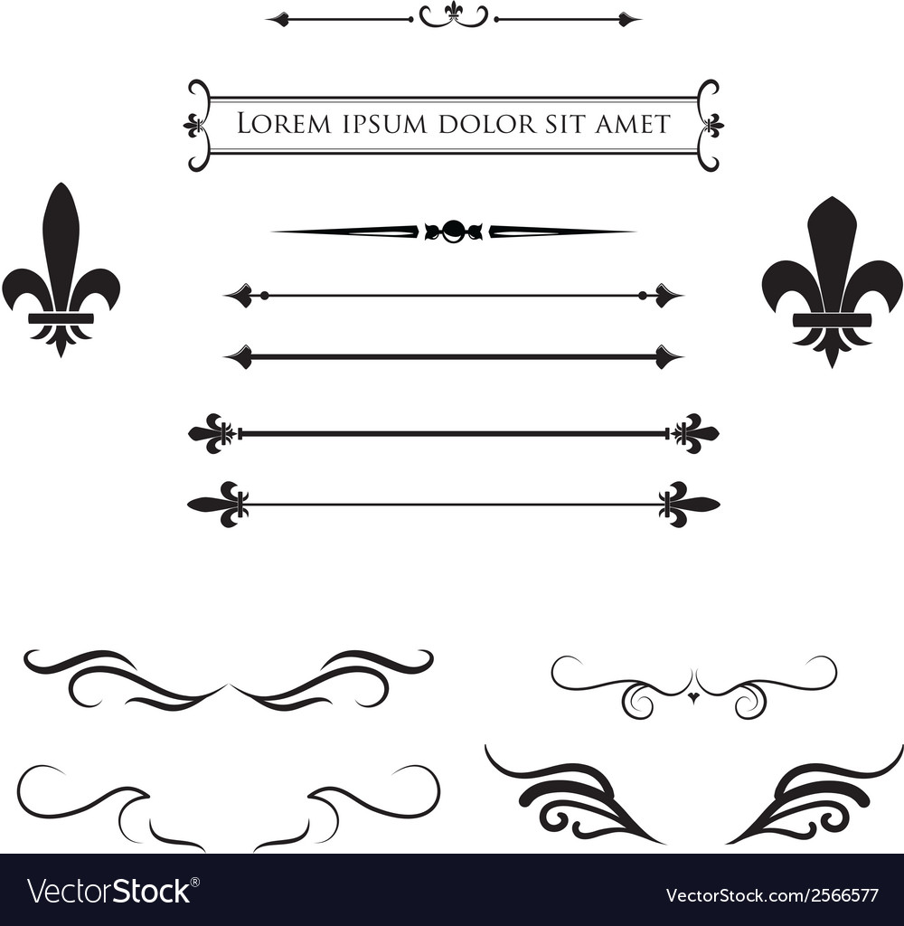 Calligraphic flourish design elements and frames vector | Price: 1 Credit (USD $1)