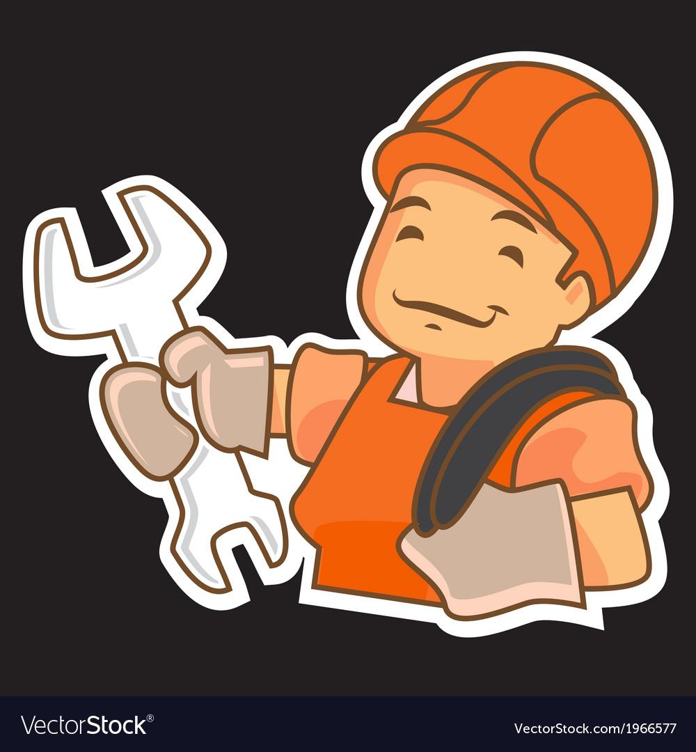 Cartoon handyman with tools vector | Price: 1 Credit (USD $1)