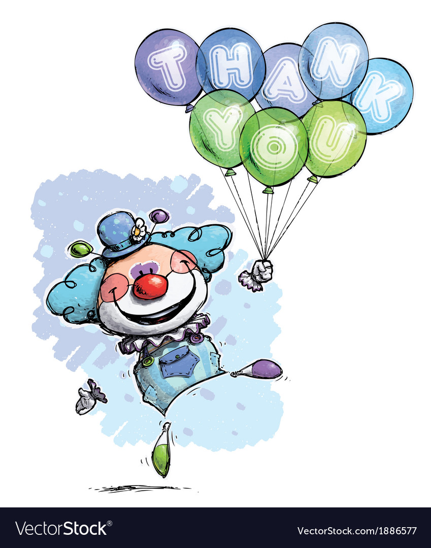 Clown with balloons saying thank you boy colors vector | Price: 3 Credit (USD $3)