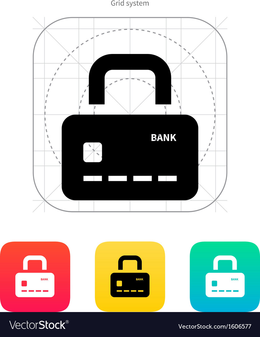 Credit card abstract padlock icon secure payment vector | Price: 1 Credit (USD $1)