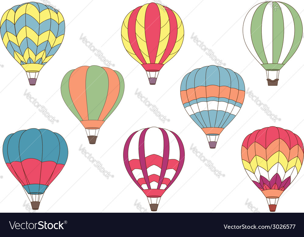 Flying colorful hot air balloon icons vector | Price: 1 Credit (USD $1)