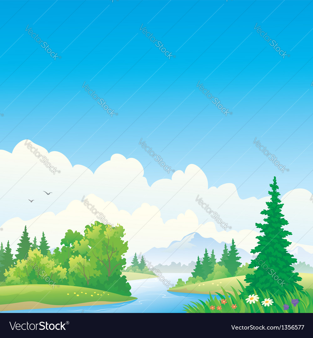 Forest river vector | Price: 3 Credit (USD $3)