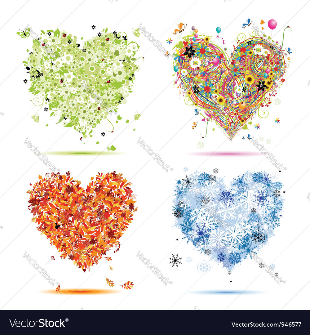 Four seasons hearts - spring summer autumn winter vector | Price: 1 Credit (USD $1)