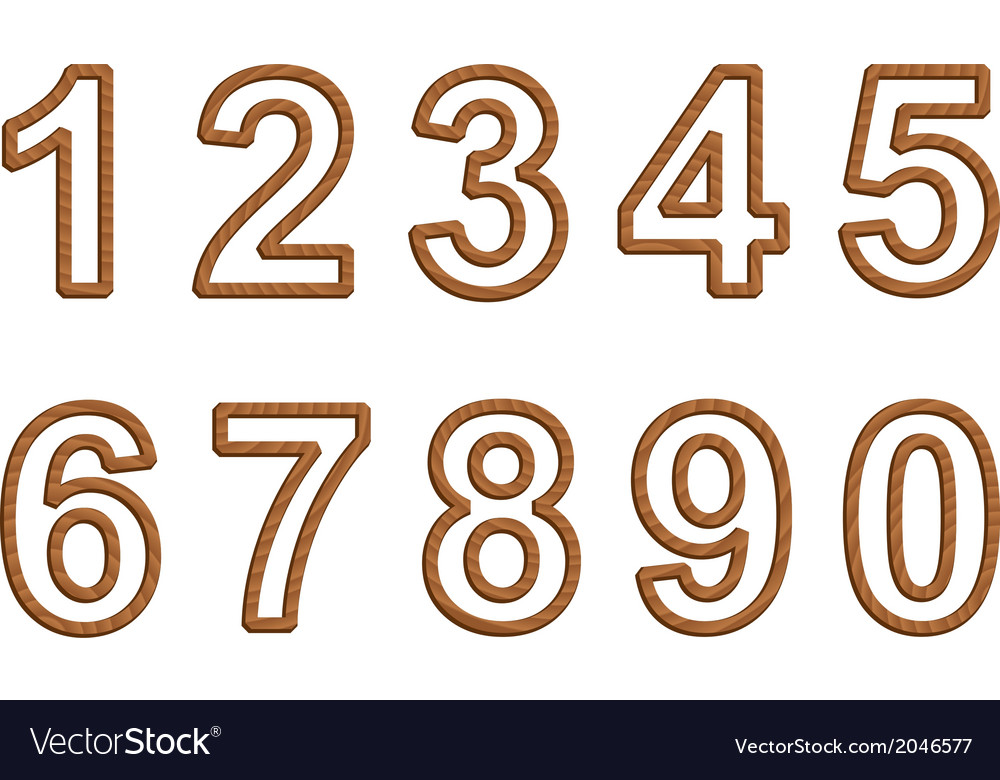 Numbers with texture of wood vector | Price: 1 Credit (USD $1)