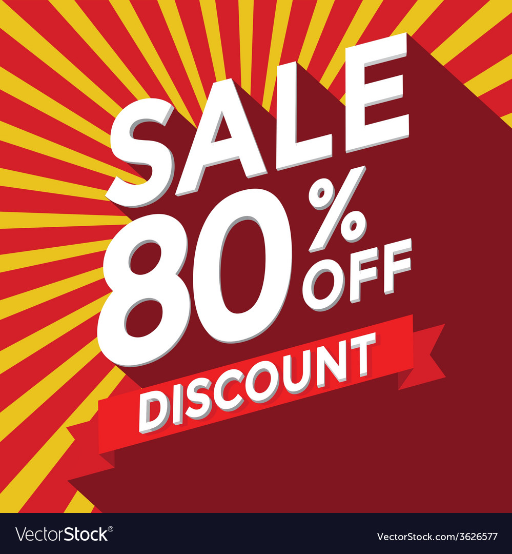 Sale 80 persent off discount vector | Price: 1 Credit (USD $1)