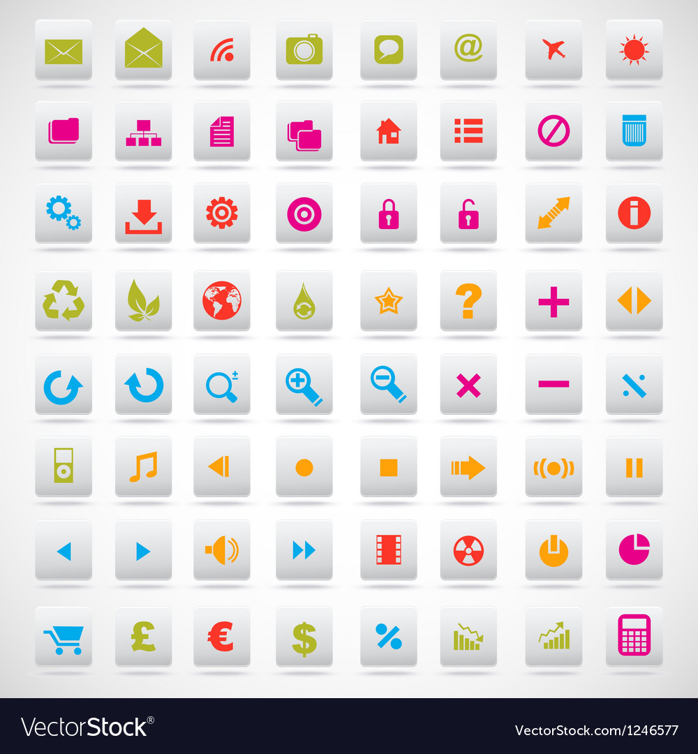 Set of icons pink green yellow vector | Price: 1 Credit (USD $1)