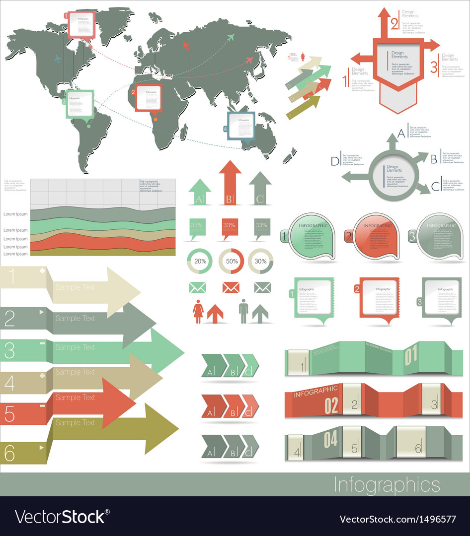Set of infographic elements vector | Price: 3 Credit (USD $3)
