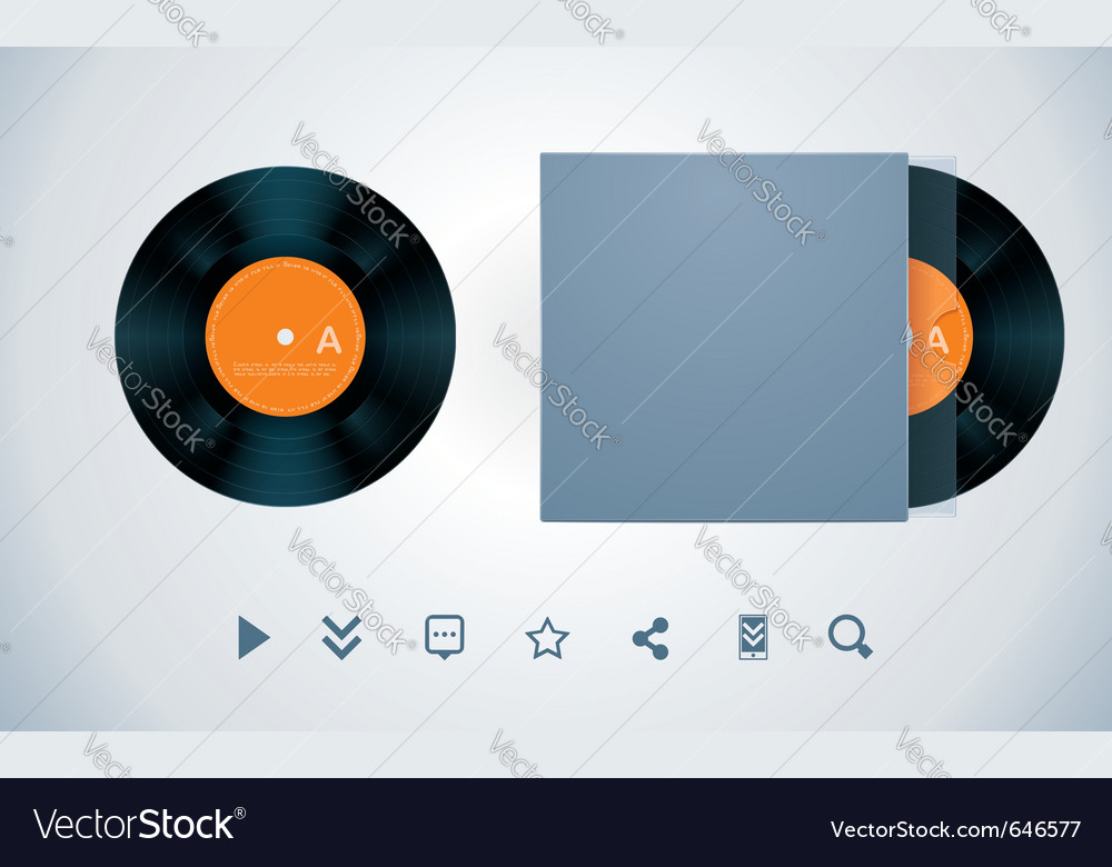 Vinyl disk and envelope vector   Price: 1 Credit (USD $1)