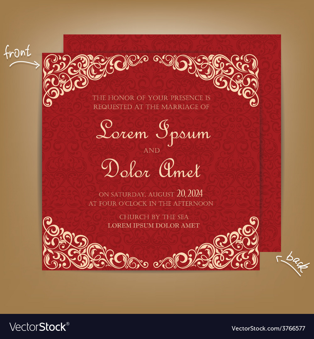 Wedding card red vector | Price: 1 Credit (USD $1)