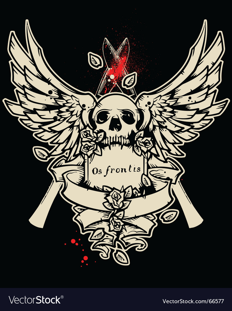 Winged bloody skull vector | Price: 1 Credit (USD $1)