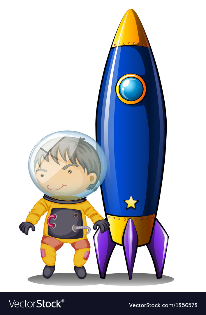 An astronaut with an orange suit standing beside vector | Price: 3 Credit (USD $3)