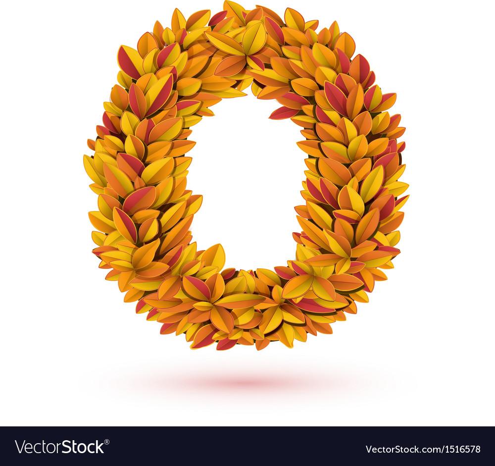 Autumn fall bright orange leaves letter vector | Price: 1 Credit (USD $1)