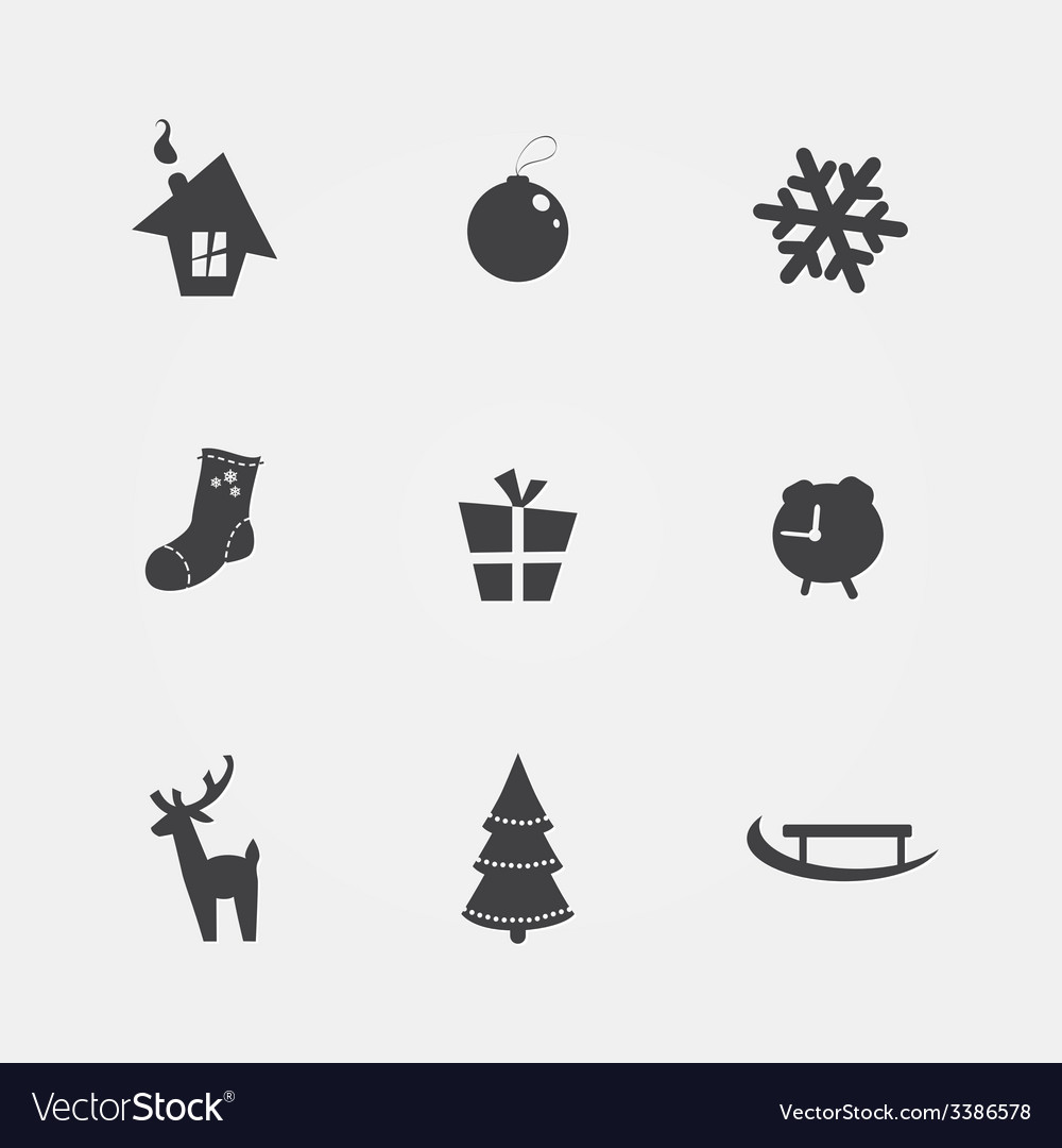 Christmas black icons vector | Price: 1 Credit (USD $1)