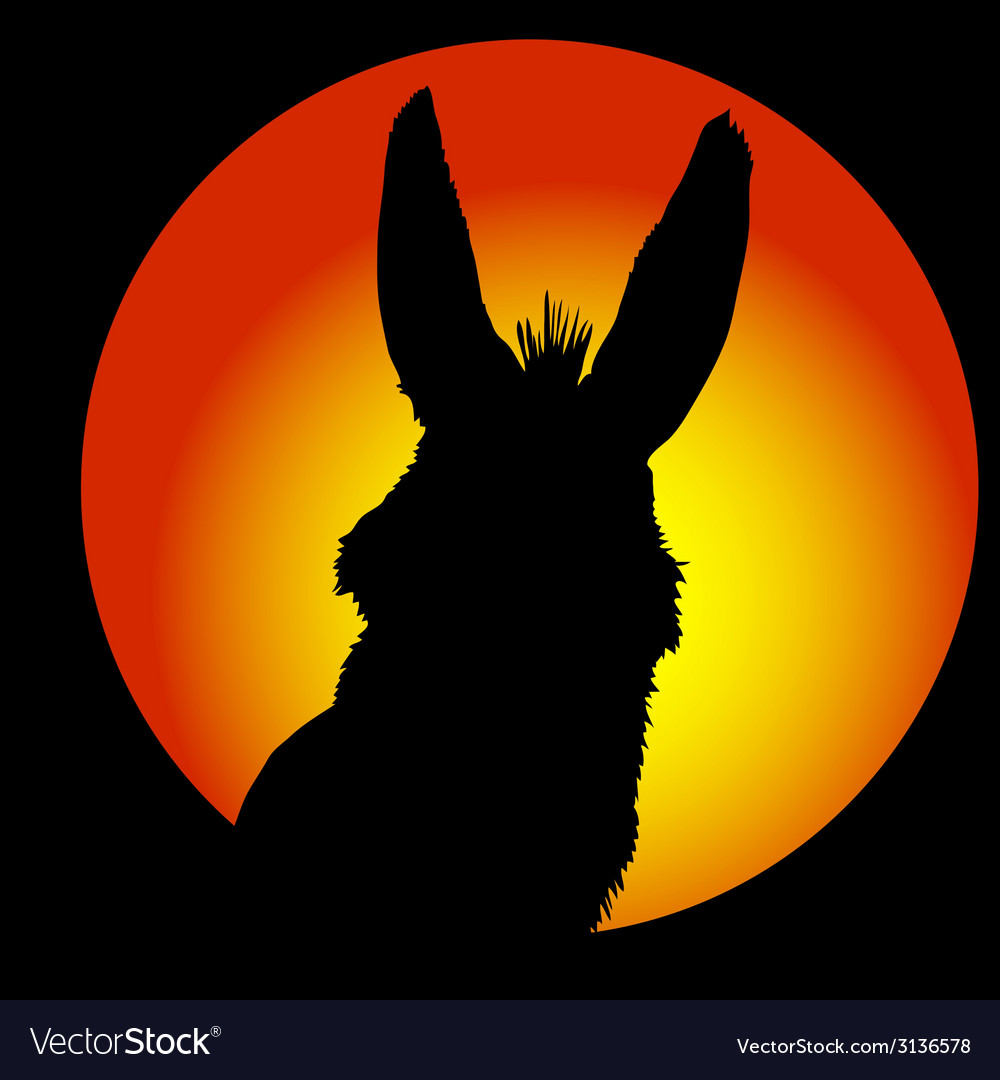 Donkey in circle with color background vector | Price: 1 Credit (USD $1)