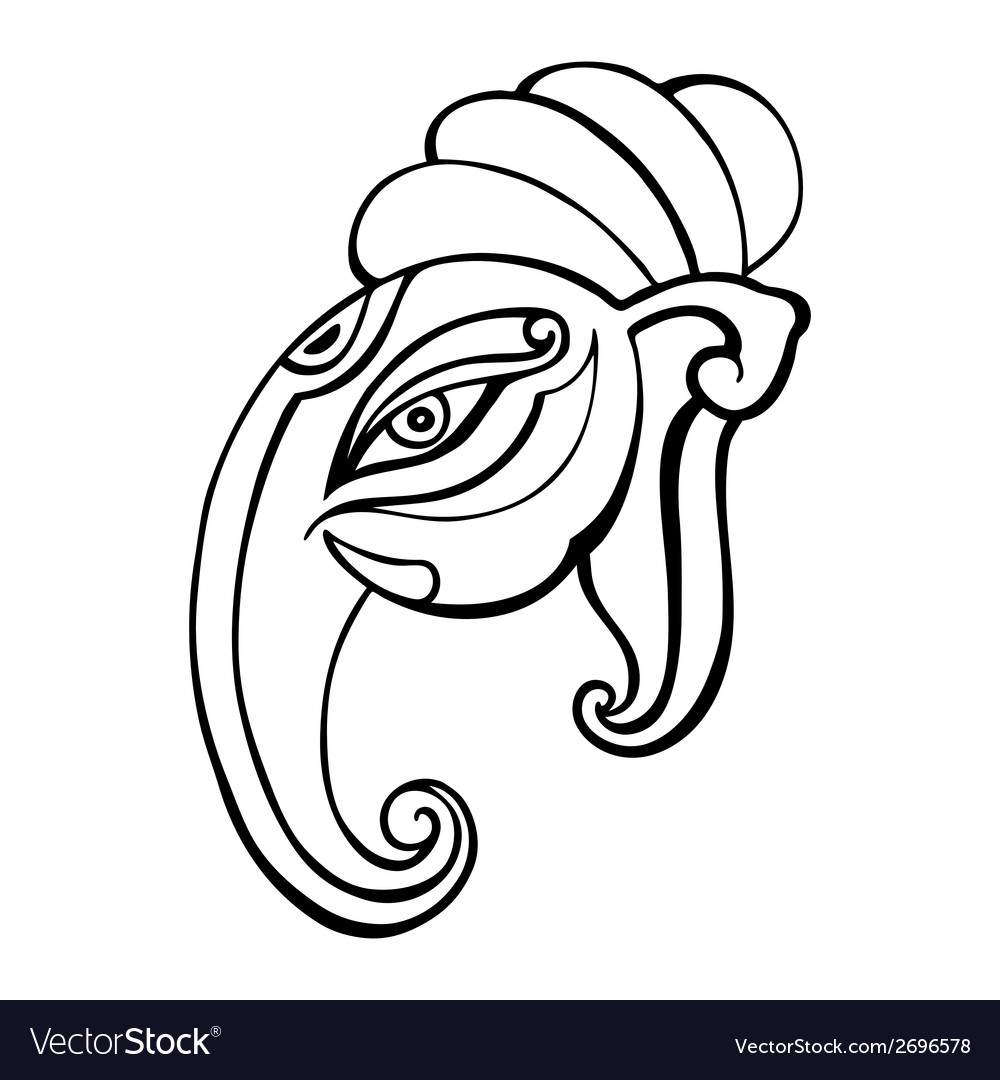 Elephant head ganesha hand drawn vector | Price: 1 Credit (USD $1)