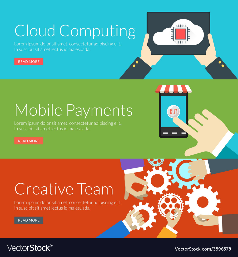 Flat design concept for cloud computing mobile vector | Price: 1 Credit (USD $1)