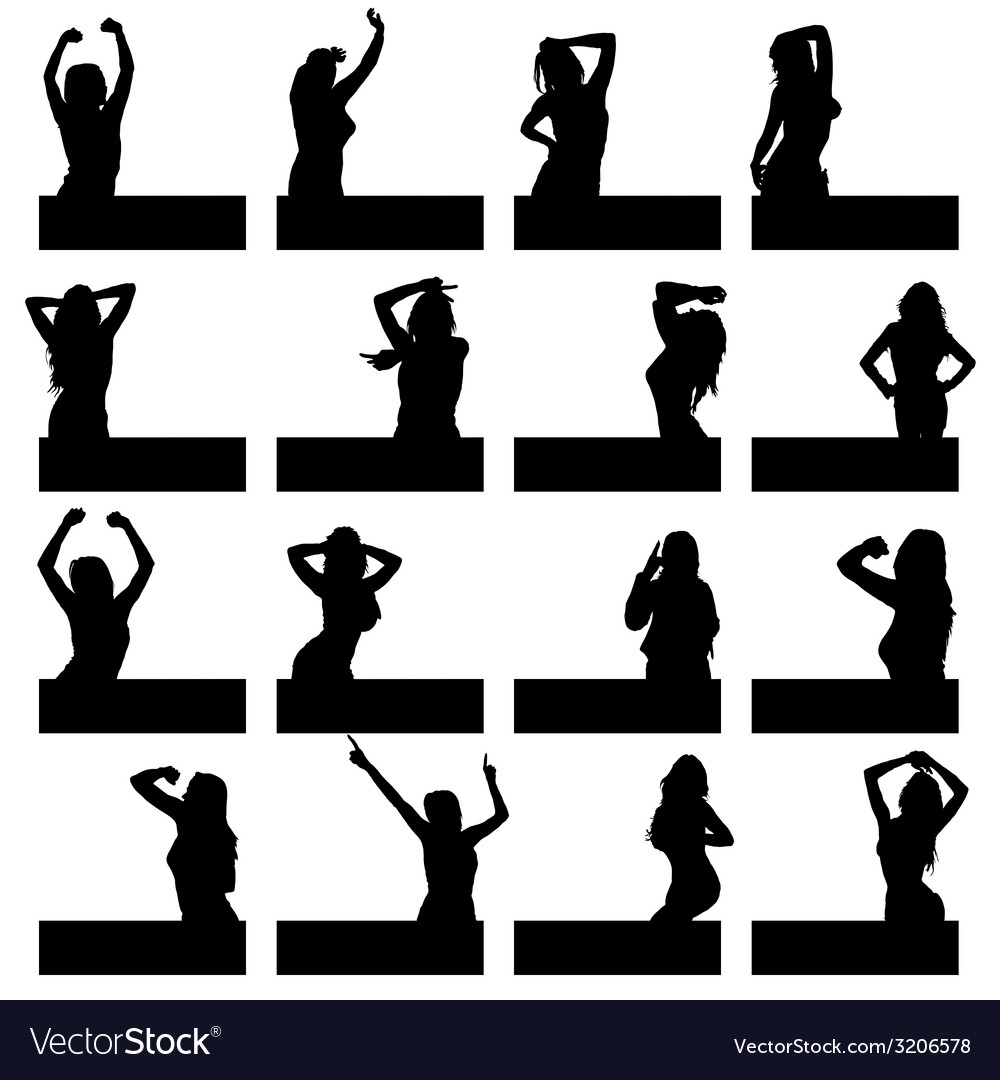 Girl in various poses on black silhouette vector | Price: 1 Credit (USD $1)