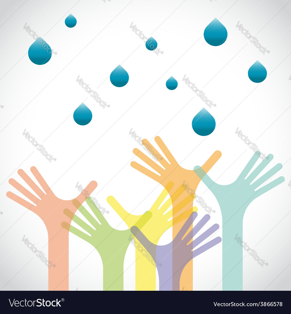 Group of raised hands with waters vector | Price: 1 Credit (USD $1)