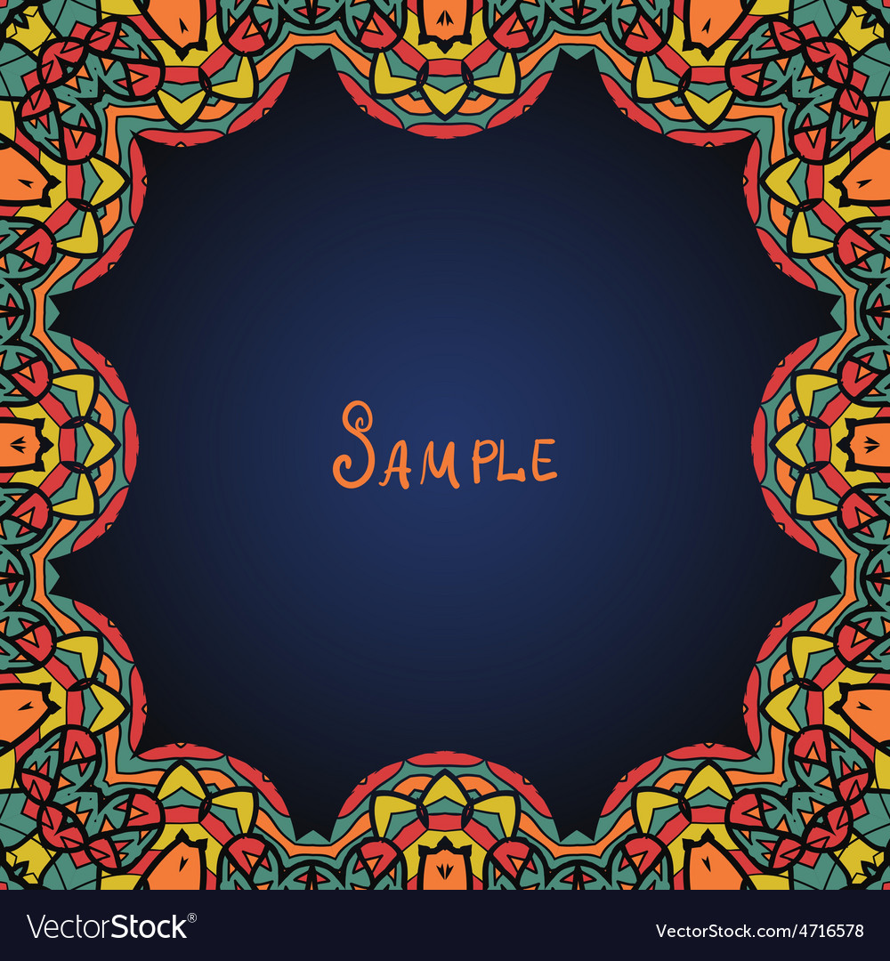 Kaleidoskopic frame ornate frame with paisley vector | Price: 1 Credit (USD $1)