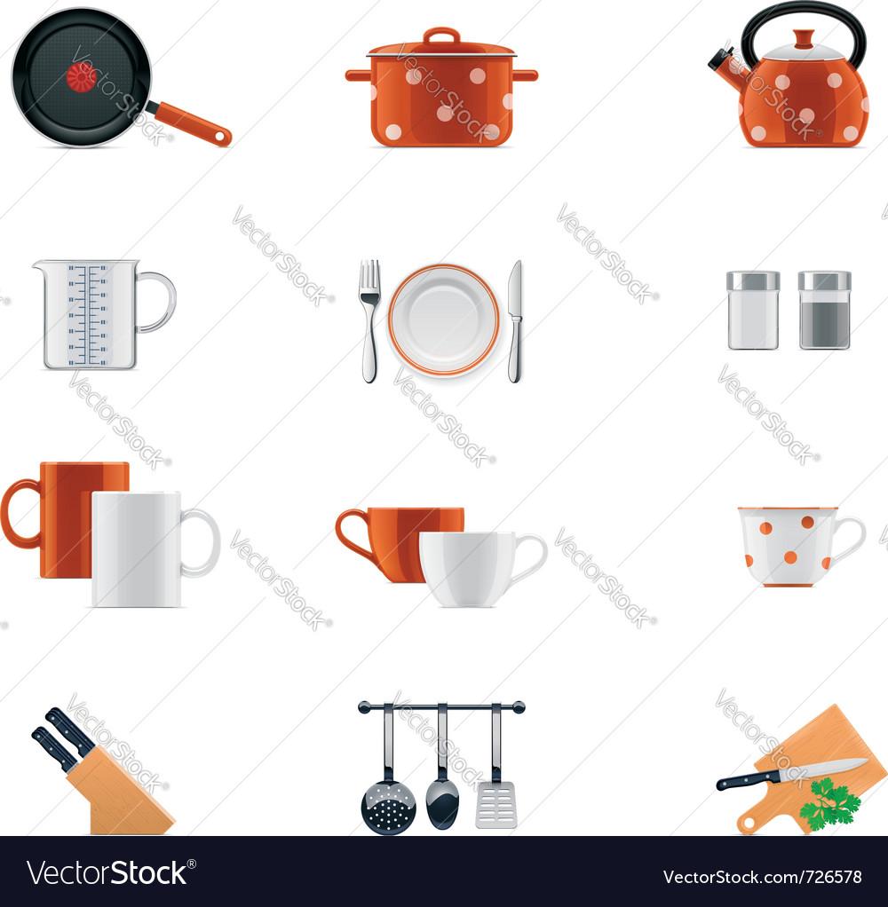 Kitchenware icon set vector | Price: 3 Credit (USD $3)