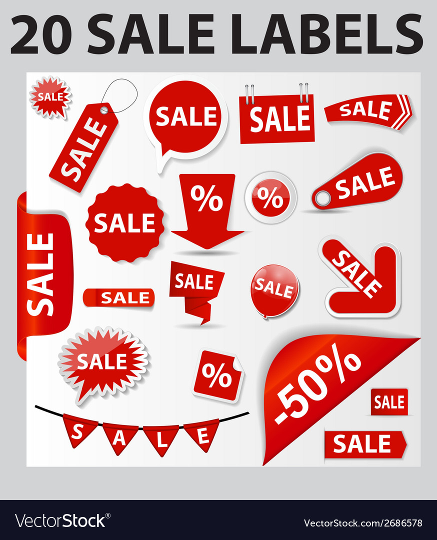 Labels set 20 sale vector | Price: 1 Credit (USD $1)