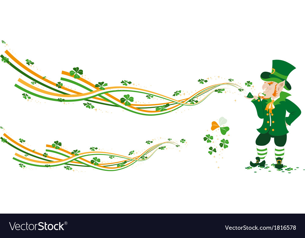 Leprechaun creating fairy from ribbons and colvers vector | Price: 1 Credit (USD $1)