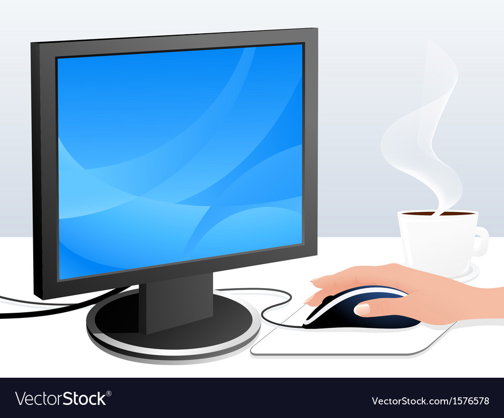Monitor and mouse vector | Price: 1 Credit (USD $1)
