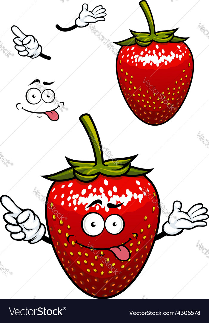 Playful smiling red strawberry fruit cartoon vector | Price: 1 Credit (USD $1)