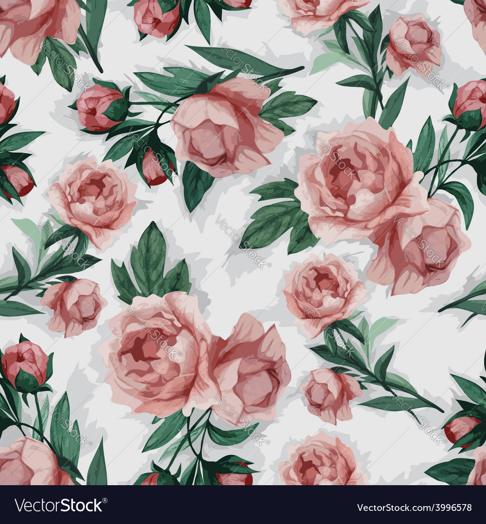 Seamless floral pattern with pink peony vector | Price: 1 Credit (USD $1)